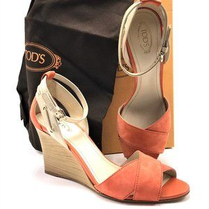 TOD'S Italian Suede & Patent Leather  Wedge Sandal